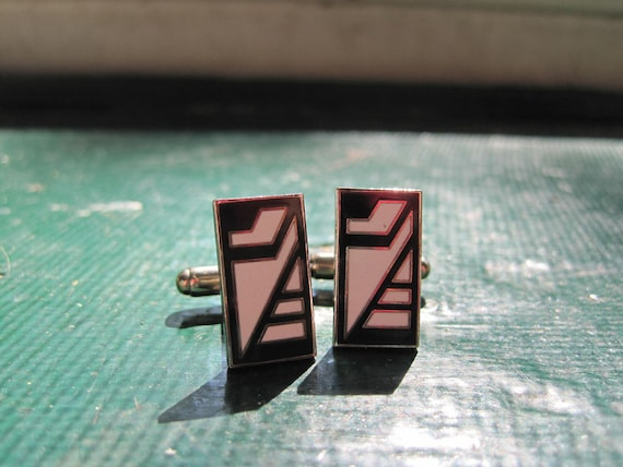 Vintage Acme Studios Enamel on Metal Cuff links Art Deco Black and White on Silver Metal 1/2 an Inch Long