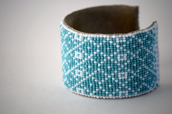loom woven geometric turquoise & white cuff
