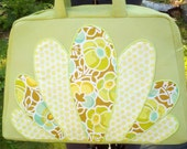 Retro Stewardess Style Bag in Green with Peacock Applique