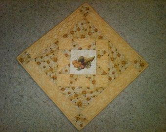 Quilted Fall Thanksgiving Cornicopia Table Runner/Centerpiece - Wall Hanging - Reversible