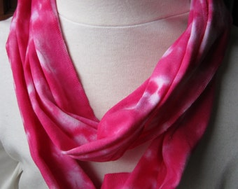 Pink Circle Scarf in Hand Dyed Cotton