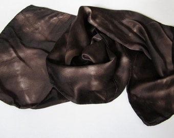 Silk Satin Scarf, Tie Dyed in Chocolate & Cream