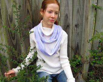 Infinity Circle Scarf in Lavender Purple Cotton Knit, for Men and Women