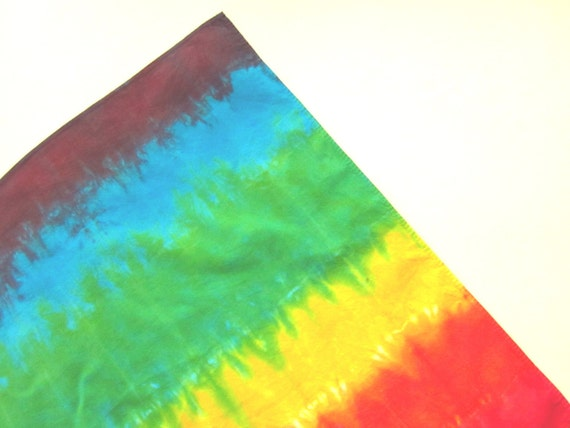 Rainbow Tiedye Bandana Square Cotton Scarf
