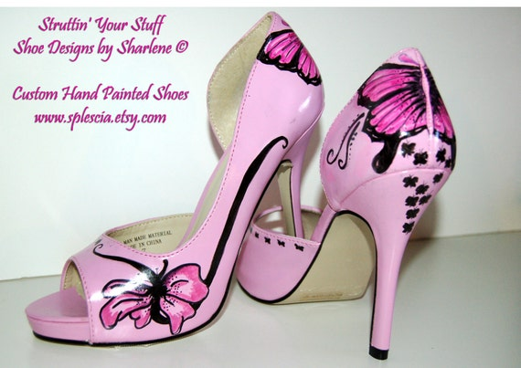 Butter-Fly Pink Peep Toe Pumps Size 7