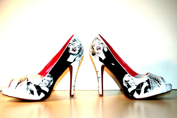 Marilyn Monroe design pumps, white on black