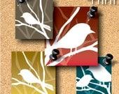 Graphic white bird-Printable scrabble tile size digital collage sheet -SC0057