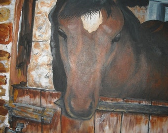 """Horse In Stable - Original acrylic painting on stretched canvas - 18"""" x 24"""""""