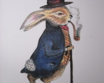 Gentleman Rabbit - 8 in x 10in print