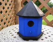 Hand Painted Cobalt Blue Birdhouse