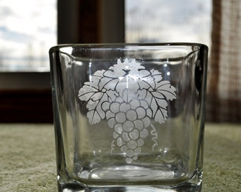 Hand Etched Glass Votive Holder With Grape Design