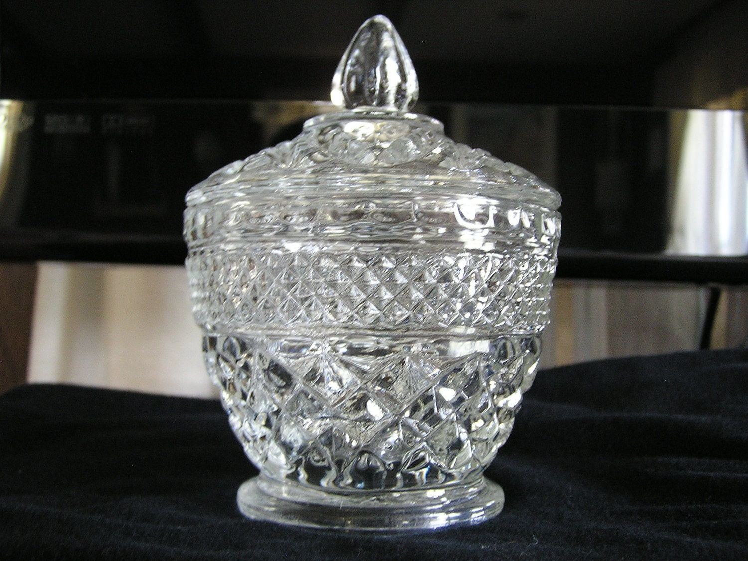 Vintage glass sugar bowl with lid