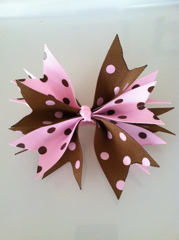 Cute Girl's Hair Bow Barrette Pink and Brown Polka Dots