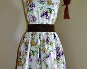 1950s vintage inspired tea dress purple rose - READY TO SHIP