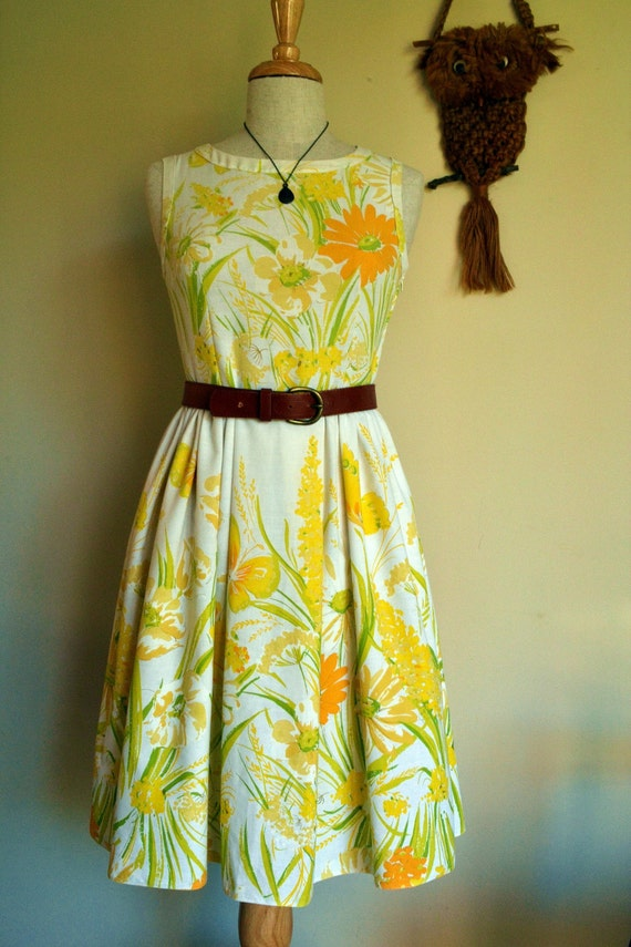 Afternoon Tea Party Vintage Inspired Dress Yellow Floral Ready