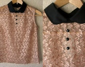 40 % DISCOUNT / Sleeveless Styling Golden Lace Women Blouse / Top with Black Collar and Three Decorative Buttons  / Size XS