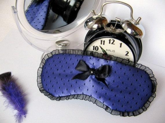 POLKA DOT Purple Silk and Black Mottled Lace Handmade Sleep Mask / Eye Mask