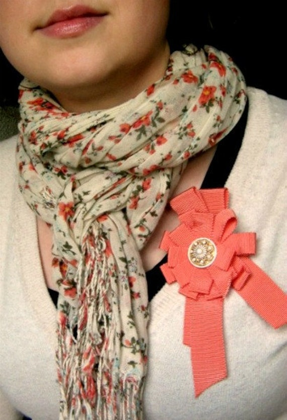 Feminine Coral Orange Rosette Medal Style Pin Brooch with Button in the middle / Bright Spring and Summer Accessories for Her