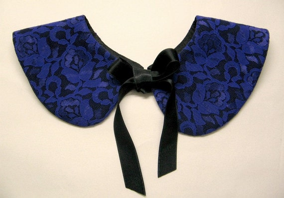 15 % DISCOUNT / Purple Lace Detachable Handmade Collar with Black Bow Tie / Peter Pan Romantic Col Claudine Amovible