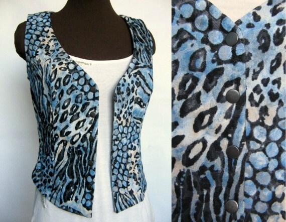50% DISCOUNT / Blue Wild Tiger / Leopard Women Vest with Metallic Buttons (size S/M)