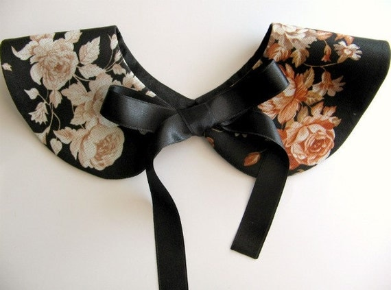 Vintage Floral Detachable Handmade Collar with Black Ribbon Bow Tie / Necklace / Peter Pan Col / On Trend / Must Have
