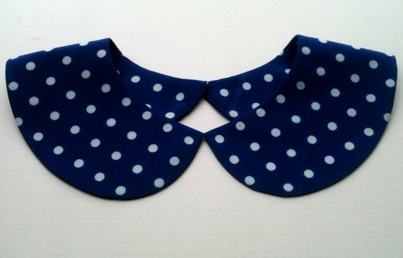 Deep Blue and White Polka Dot Handmade Detachable Peter Pan Collar / Must Have On Trend Accessory