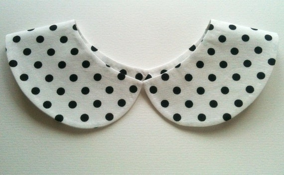 White and Black Polka Dot Handmade Detachable Peter Pan Collar Necklace / Must Have On Trend Summer Accessory / Col Claudine