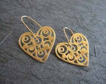Gold Heart Filigree Earrings , Handmade by Adi Yesod