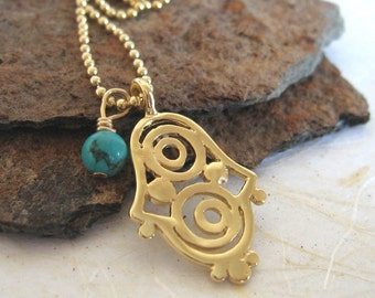 Gold Hamsa and Turquoise charm Necklace , Filigree hamsa necklace ,  kabbalah hamsa hand necklace , Handmade by Adi Yesod