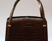 Vintage 1960s brown purse, brown bag