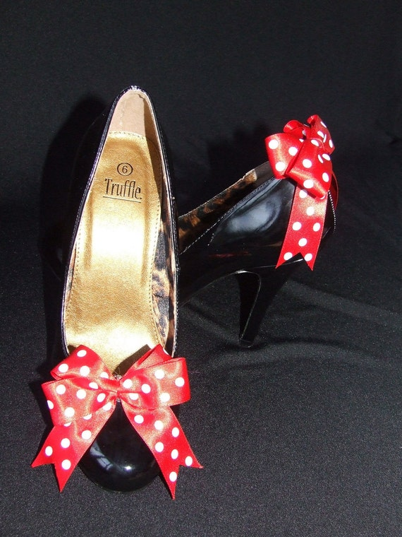 Rockabilly polka dot red/white shoe bows