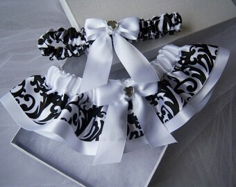 Black and white  garter set/Black and white damask garter set/Damask wedding garters/damask garter/Black and White