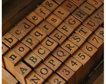10% OFF 70 PCS Rubber Stamp Set  - Alphabet Stamp Set - Antique Stamps