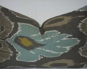 "13"" x 20"" Ikat - ""Raja HB"" Pillow -Designer  fabric - Back fabric-Solid(natural)-Ready  to Ship"