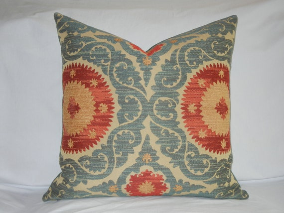 "SALE(10%)20"" x 20"" Suzani  ""DUNHOLME JEWEL""  Pillow -Designer  fabric-Back side-Solid color(Tan/natural) Ready  to Ship"
