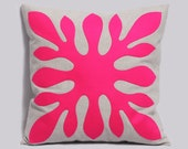 Decorative Hawaiian Pillow Cover neon pink and light gray - ALOHA - 18x18 inches, Hawaii Pillow, Modern Contemporary Pillow, Made To Order