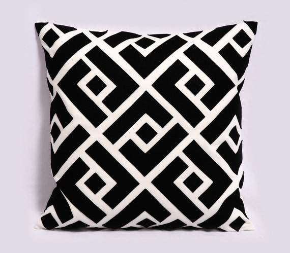 Set of Two (2) pillow covers - Linen, Felt - 18x18 inches, Decorative Pillows, Greek Key, Made to Order