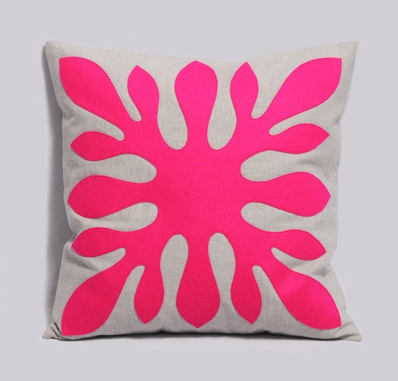 Decorative Hawaiian Pillow Cover ALOHA in neon pink and light gray 18x18 inches, Hawaii Pillow, Modern Cushion Contemporary Pillow