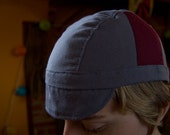 Grey and Maroon Striped Cycling Cap