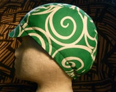 Green and White Swirled Cycling Cap