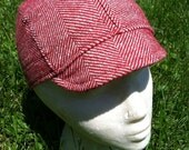 Red and White Striped Wool Cycling Cap