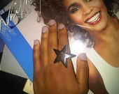 Vintage Silver Star button ring