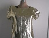 Vintage Semi-Sheer Gold Shimmer blouse