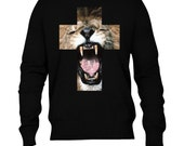 Lion Roar, Cross, Printed Jumper-Available in sizes S-XL