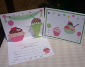 Cupcake and ice cream invitations/pop up invitation/cupcake invites/ice cream invitation/ice cream invites/cupcake invites/sweet invitations