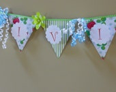 Strawberry Birthday Banner KIT (you assemble), 5 inch triangle pennants