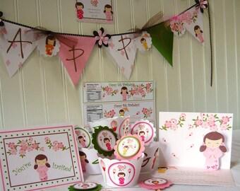 KoKeshi Doll Party Decoration, kokeshi birthday decorations, kokeshi party decorations, kokeshi dolls, kokeshi, birthday decoration package