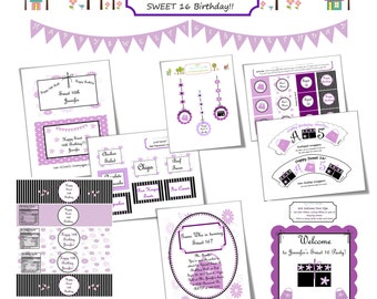 DIY PRINTABLE Sweet 16 Birthday Decoration colors can be changed if purple isn't your color