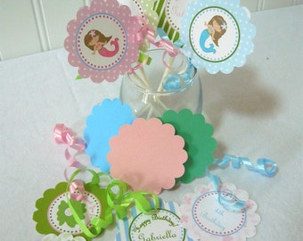 Mermaid Cupcake Topper Kit customize with your wording and child's name (36 pcs)