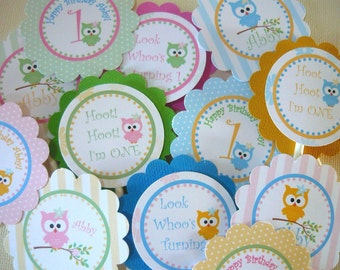 Owl cupcake toppers, owl tags, owl party tags, party favor tags, owl party favor tags, owls, owl birthday decorations, owl birthday tags